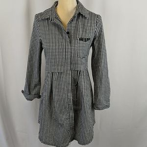 Vintage black and white checked shirt dress/tunic